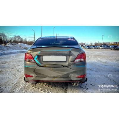 Двойной выхлоп Hyundai Solaris седан 2010-2017 в комплекте диффузор и элероны