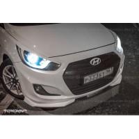 Сплиттер переднего бампера Hyundai Solaris 2011-2014